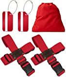 Black Bison–Cinturón de Seguridad Cruz (Juego de 2) para cierra la maleta de viaje + Gratis 2Maletín colgante–de 2Vías de equipaje Correa/maletín de banda ajustable & Maletero rojo rojo