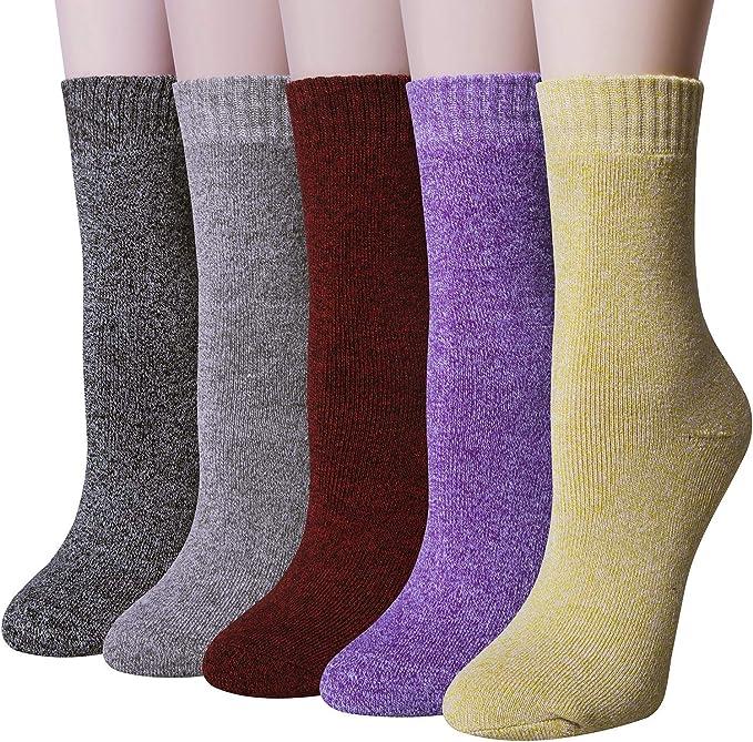 Chalier Pack de 5 Calcetines Mujer Algodon de Color Puro para ...