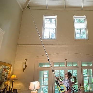 Kit de limpieza DocaPole con palo telescópico 7,3 metros // Incluye 3 adaptadores de polvo + 1 espátula de goma para cristales y escobilla // Plumero de tela de araña // Plumero de microfibra: Amazon.es: Hogar
