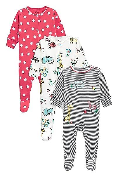 next Bebé-Niñas Pack De Tres Pijamas con Motivos De Animales De La Selva (