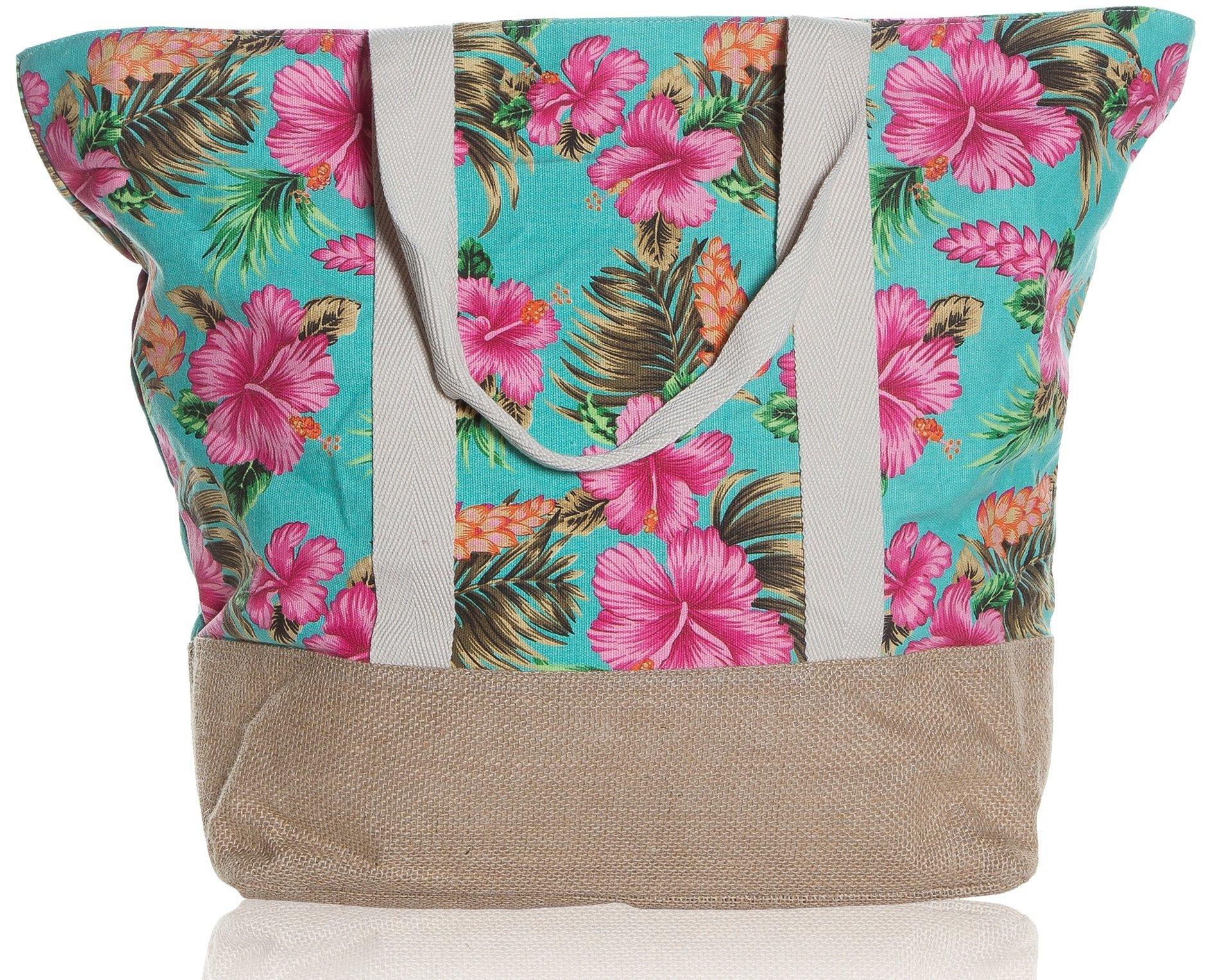 """Beach Bag By Pier 17 - Tote Bag For The Beach, Roomy 20''x18''x6"""", Zipper Closure (Flower)"""