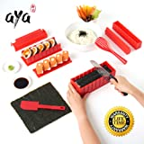 Sushi Making Kit - SushiAya Sushi Maker Deluxe Red Complete with Sushi Knife and Exclusive Online Video Tutorials 11 Piece DIY Sushi Set - Easy and Fun - Sushi Rolls - Maki Rolls