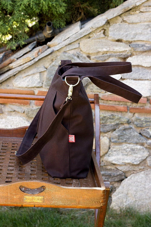 Dark Brown Washable Vegan Bag Two Big Pocket Large Bag Zipper Closure Purse Shoulder bag CrossBody Removable Adjustable Strap Gift for Her