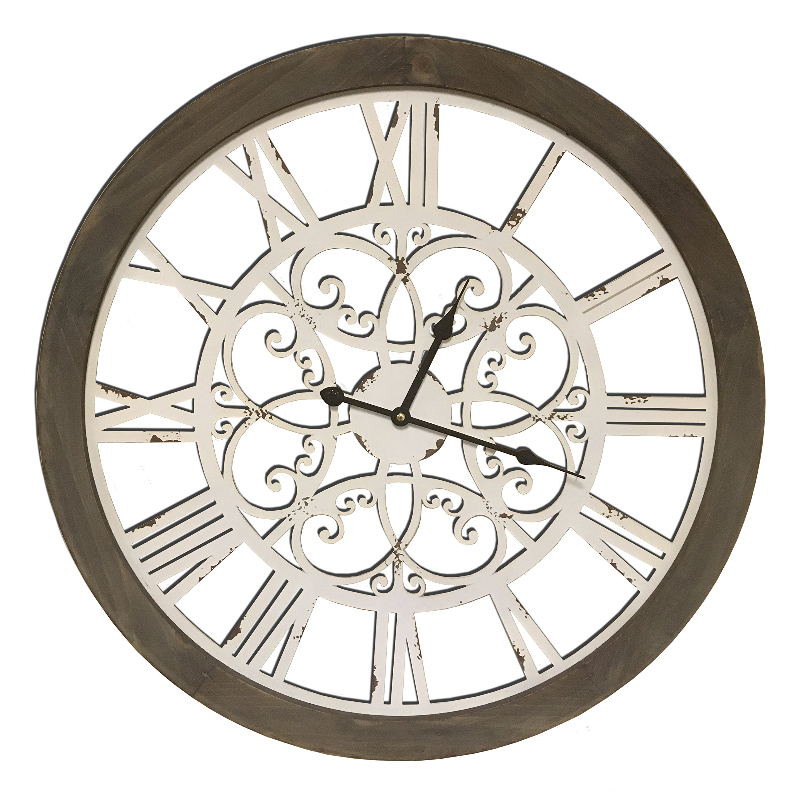Round Decorative Metal and Wood Clock With Ornate Metal Swirl Design Quartz Movement 23 x 23 x 2 Inches Great Antique Look With Combined Materials Construction...0101