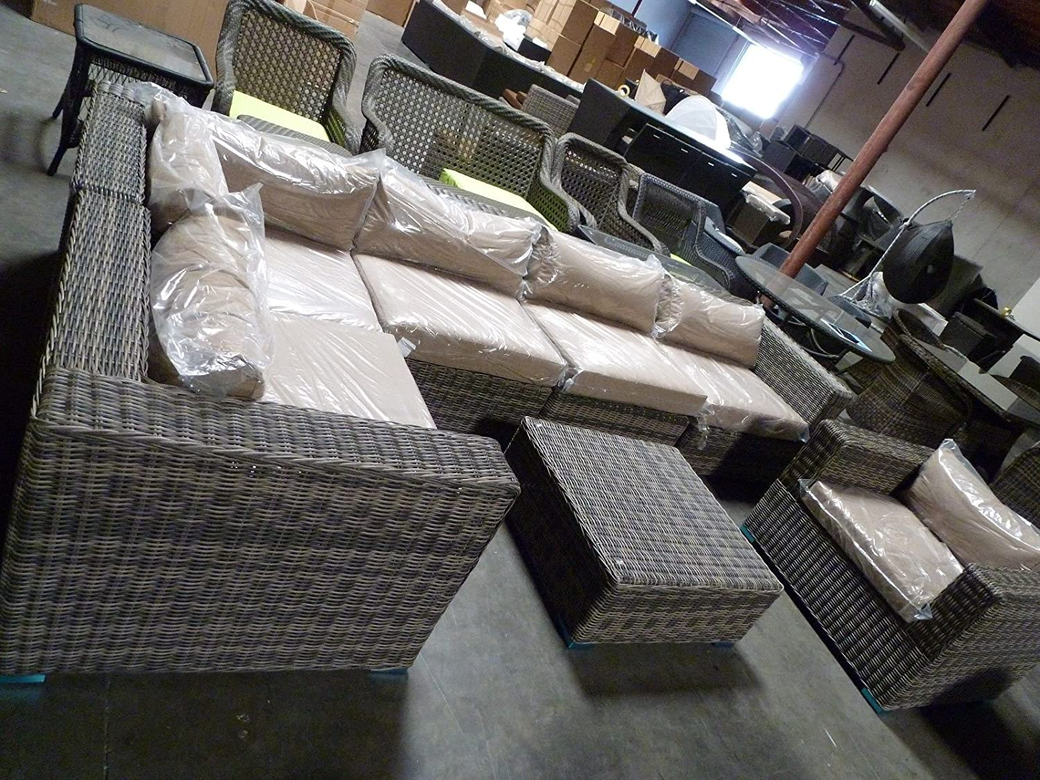 Amazon.com : Distressed Outdoor Wicker Sectional Sofa Chair Coffee Table Patio  Furniture Set : Garden U0026 Outdoor