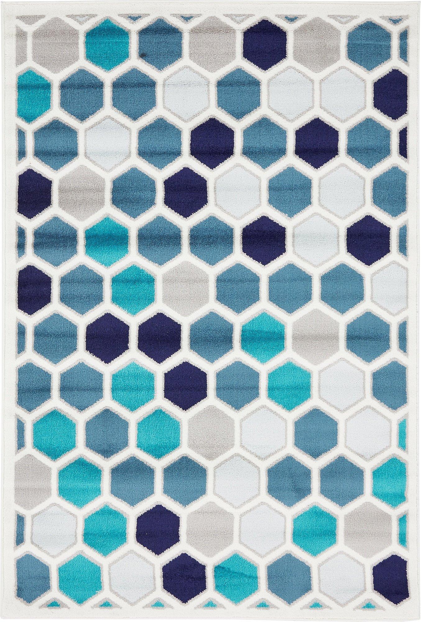 Unique Loom Metro Collection Bright Colors Geometric Kids Cream Area Rug (4' x 6')