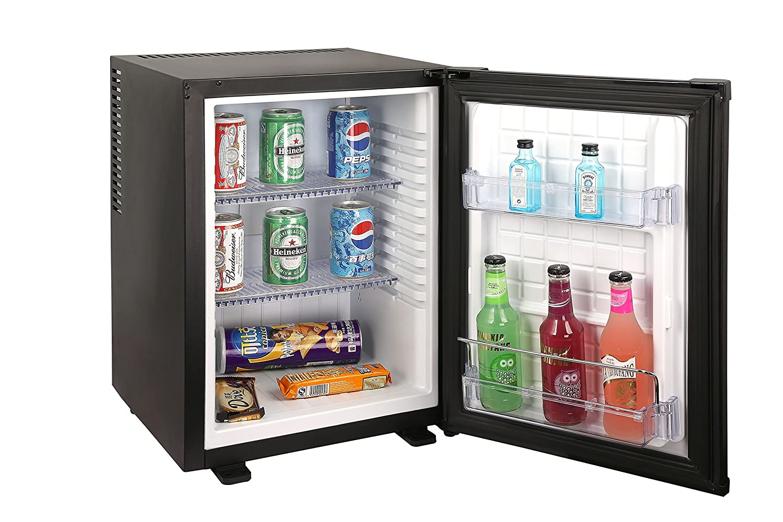 Sirge FRIGO35L0D réfrigérateur 35 litres SILENT 0 dB Classe A + Mini-bar Réfrigérateur BLACK frigobar Frigo-Bar Noir mat [dimensions: 400 (L) x 425 (P) x 560 (H) mm] - Idéal pour hôtel [Classe énergétique A+]