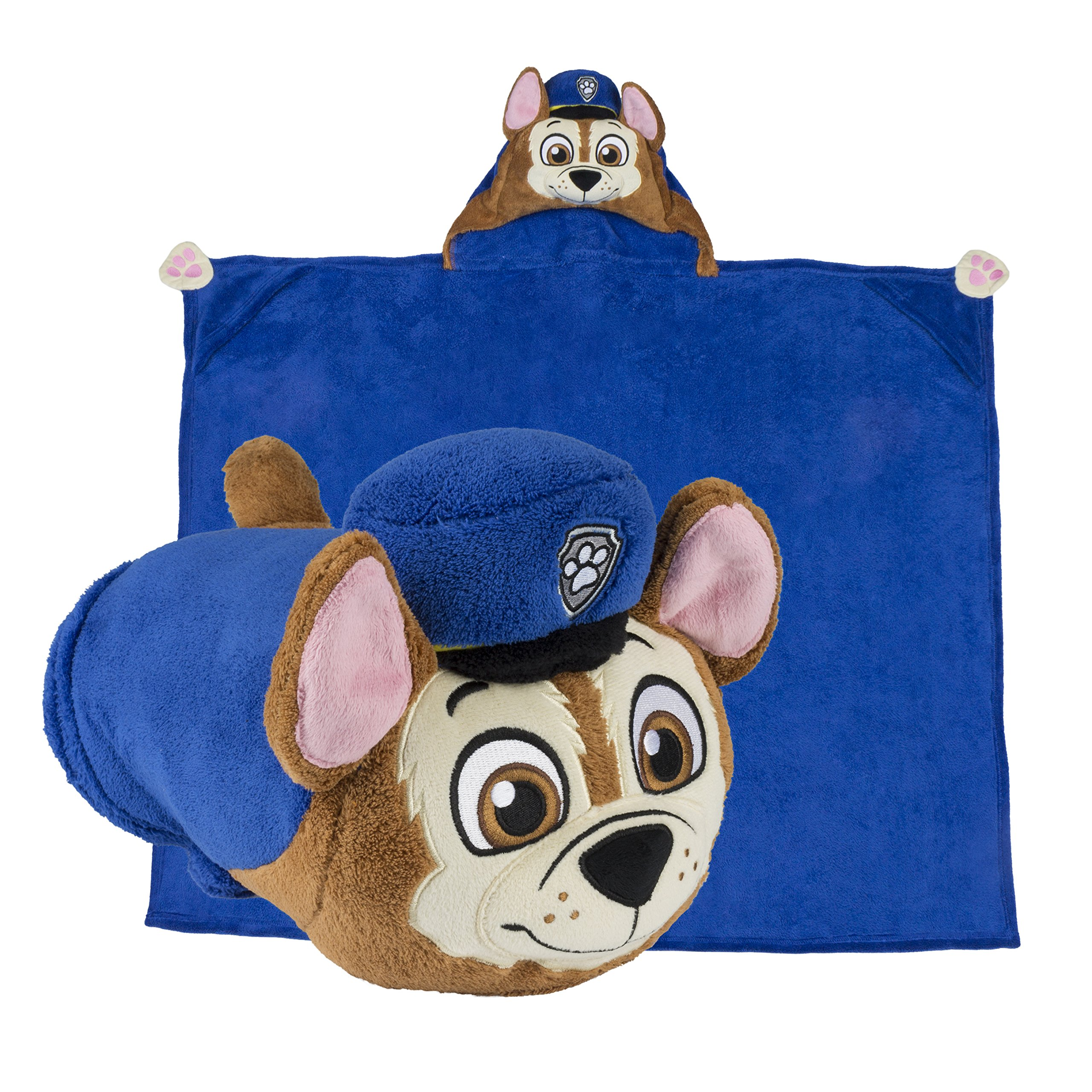 Comfy Critters Stuffed Animal Blanket - PAW Patrol Chase - Kids Huggable Pillow and Blanket Perfect for Pretend Play, Travel, nap time. by Comfy Critters