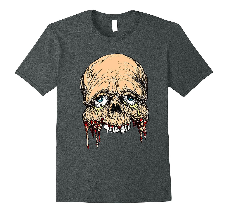 Half Face zombie skull Horror Art T shirt-TH