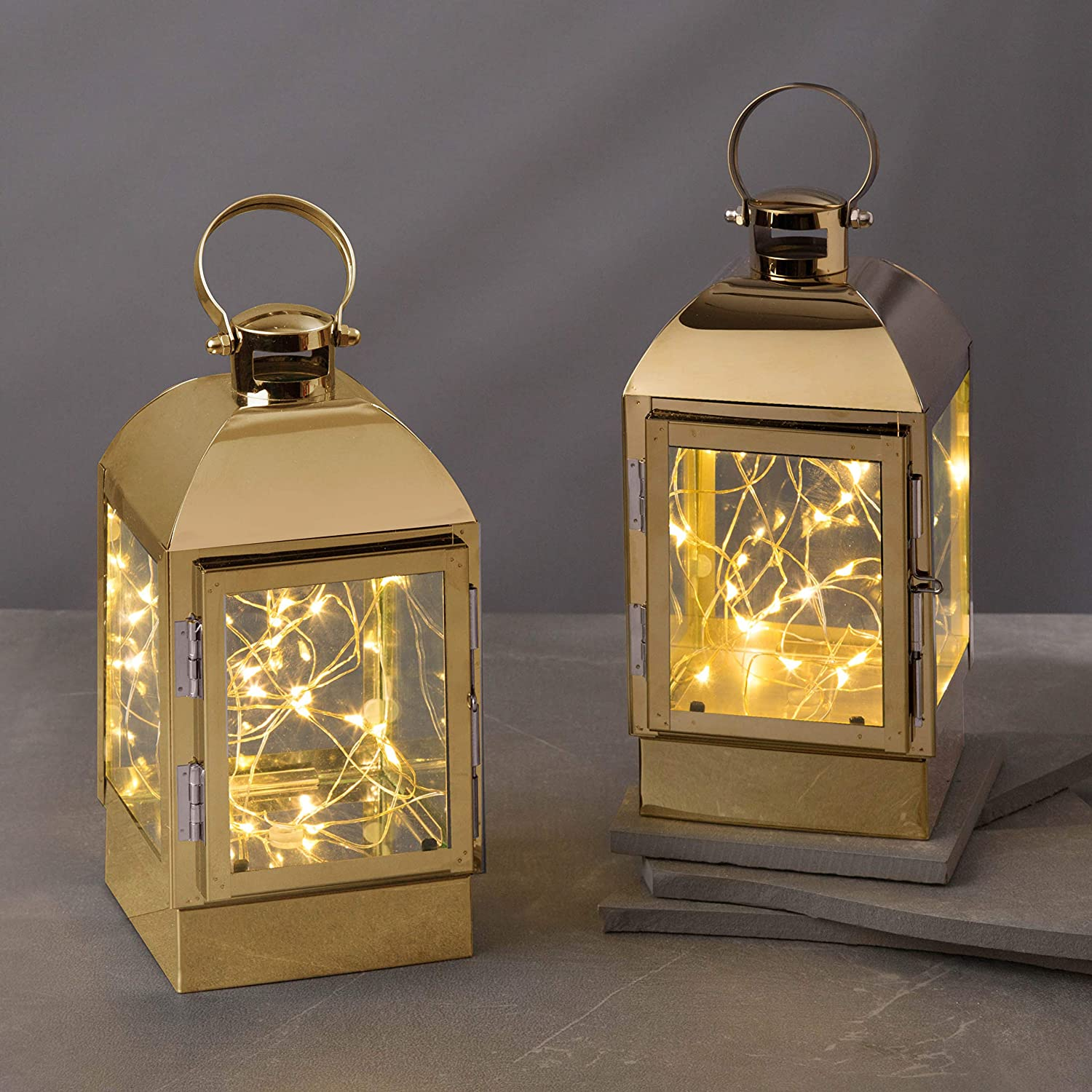 Decorative Lantern with Fairy Lights - Gold Metal, 8 Inch, Battery Operated, 30 Warm White LED Lights Inside, 6 Hour Timer, Spring Home Decor or Wedding Table, Batteries Included - 2 Pack