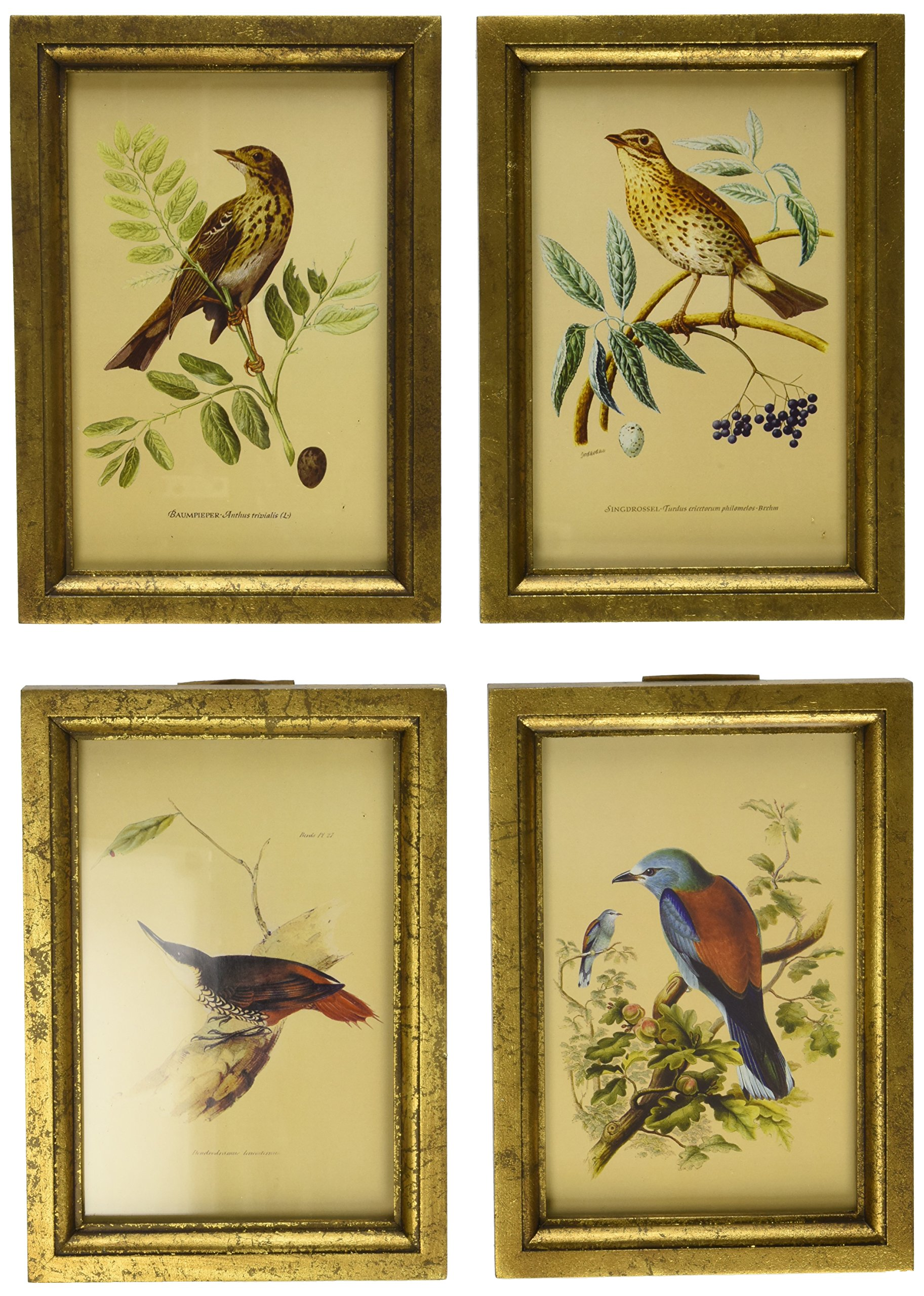 Imax 16125-4 Wooden Bird Plaques, Set Of 4