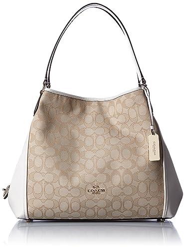COACH Women s Signature Edie 31 Shoulder Bag Li Light Khaki Chalk Handbag 31d197461279a
