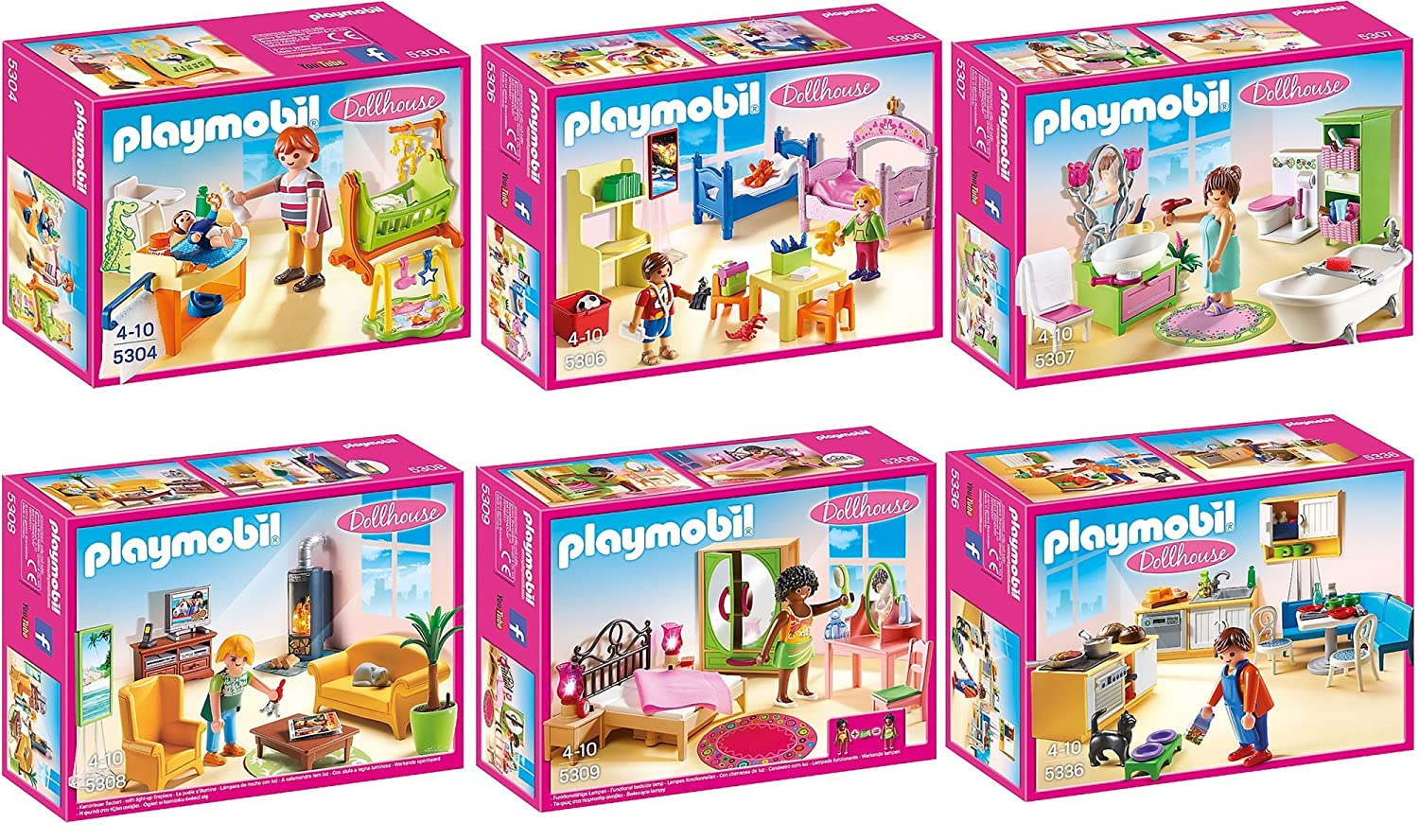 Amazon.de:PLAYMOBIL® Puppenhaus Möbelset 6er Set 5304 5306 5307 ...
