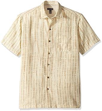 2b6e1abb Van Heusen Men's Air Short Sleeve Button Down Tropical Print Shirt,  Concrete, Small