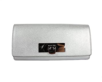 073766dfc325 Image Unavailable. Image not available for. Colour: Michael Kors Callie  Purse Wallet Silver Saffiano Leather ...