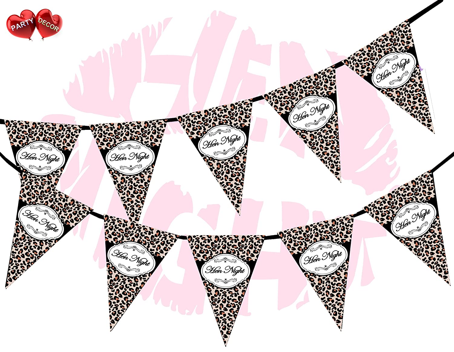Hen Night Sign Leopard Print Royal Luxury Themed Bunting Banner 15 flags for guaranteed simply stylish party decoration by PARTY DECOR