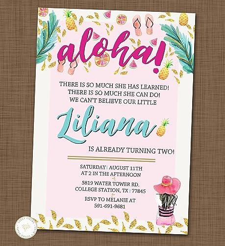 Tropical Birthday Invitation Luau Party