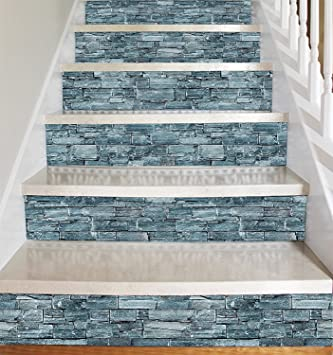 Piedra gris estilo Vinilo adhesivo tiras para elevadores de escaleras - pelar y Stick - auto adhesivo - Decoración del hogar hazlo tu mismo - Paquete de 5 tiras: Amazon.es: Bricolaje y herramientas