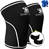 Knee Sleeves (1 Pair) with FREE Knee Straps (1 Pair) - Neoprene 7mm Sleeves for Knee Support & Patella Protection - Support & Compression for Weightlifting & Gym-Both Men & Women