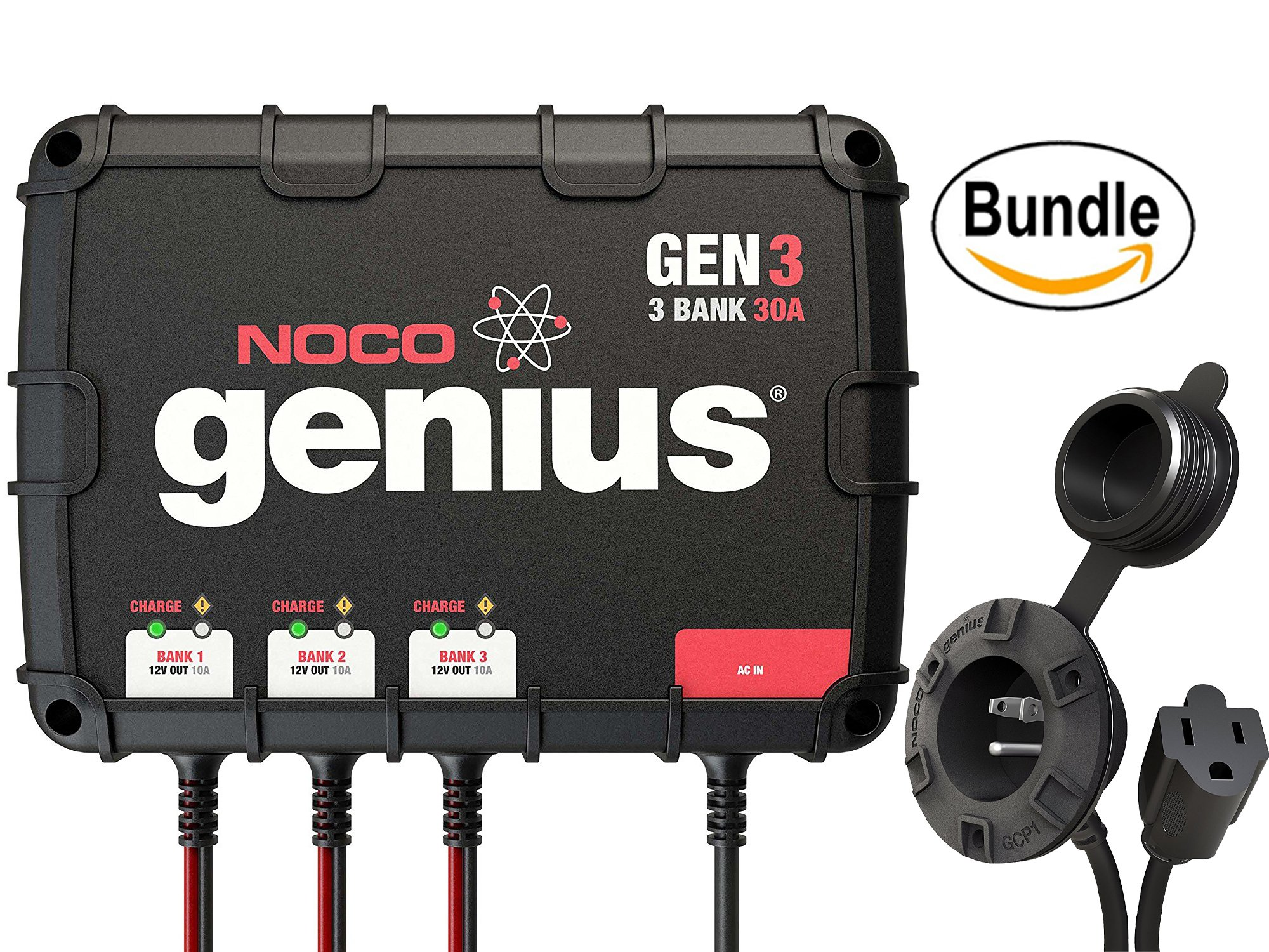 NOCO Genius GEN3 30 Amp 3-Bank Waterproof Smart On-Board Battery Charger & NOCO Genius GCP1 Black 13 Amp 125V AC Port Plug (Bundle) by NOCO Genius Bundle