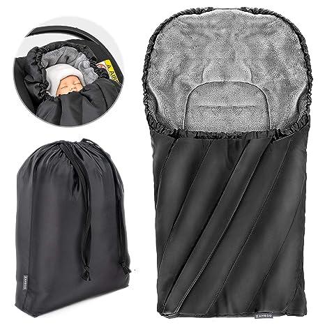 Zamboo Saco de invierno DELUXE con forro polar térmico, capucha y bolsa para Sillas de Grupo 0+ (se adapta a Maxi CosiCybexRömer) color Negro