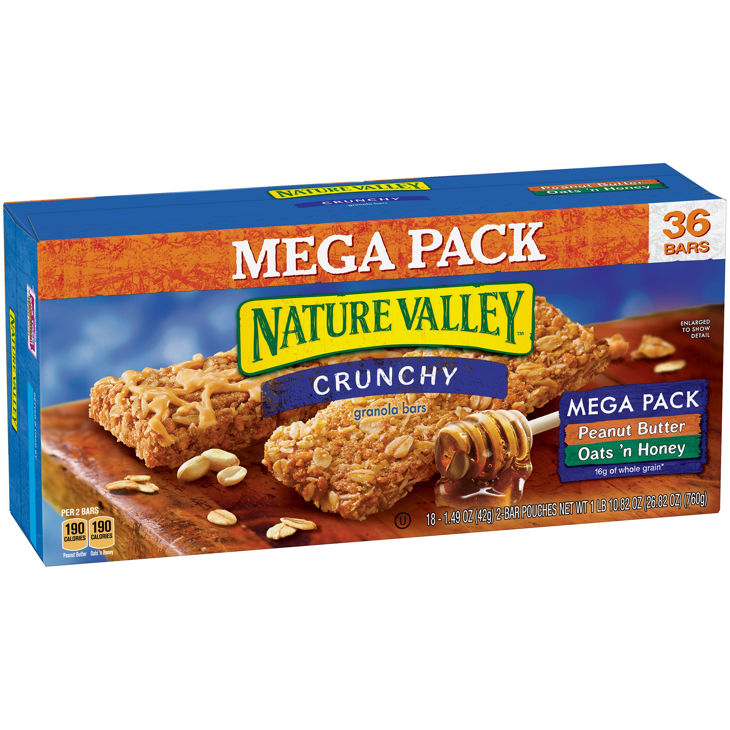 Nature Valley Granola Bars, Crunchy, Mega Pack of Peanut Butter and Oats 'n Honey, 36 Count, Pack of 1
