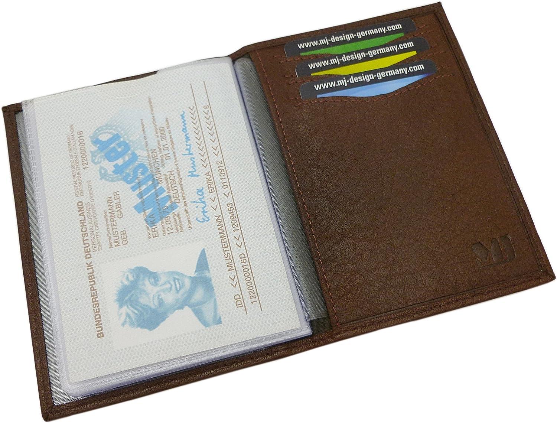 Cuero de b/úfalo elegante tarjetero para documento de identidad y tarjeta de cr/édito MJ-Design-Germany en diferentes colores