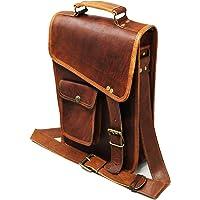 jaald 27,9cm elegante de los hombres piel auténtica café bandolera Passport Bag murse Medium
