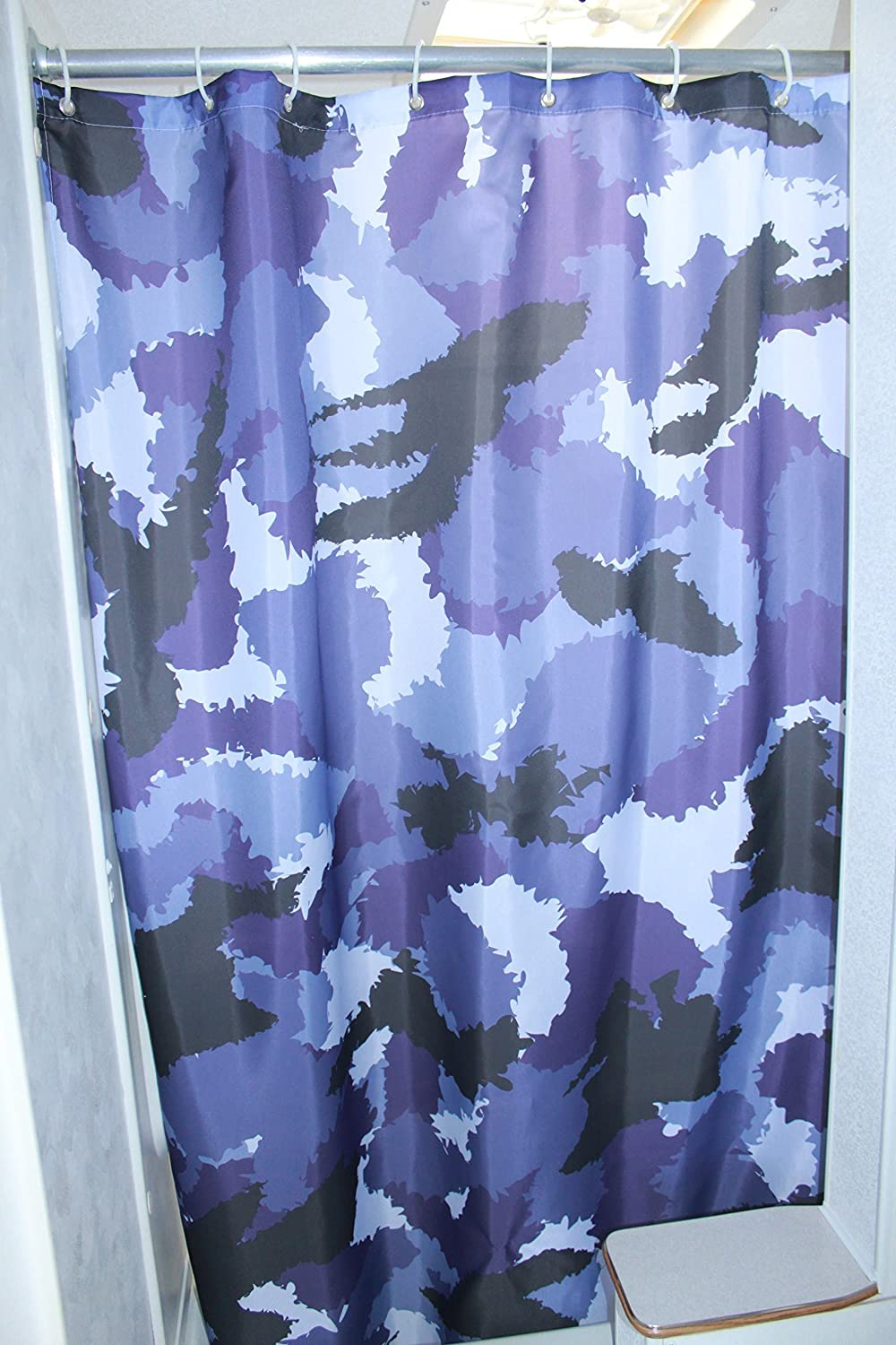 Solid Elements RV Shower Camo Curtain Accessories Gear for Camper Trailer Camping Bathroom-Shorter and Narrow Shower Sliding Camouflage Cloth Curtain with Hooks Set 47x64 (Blue)