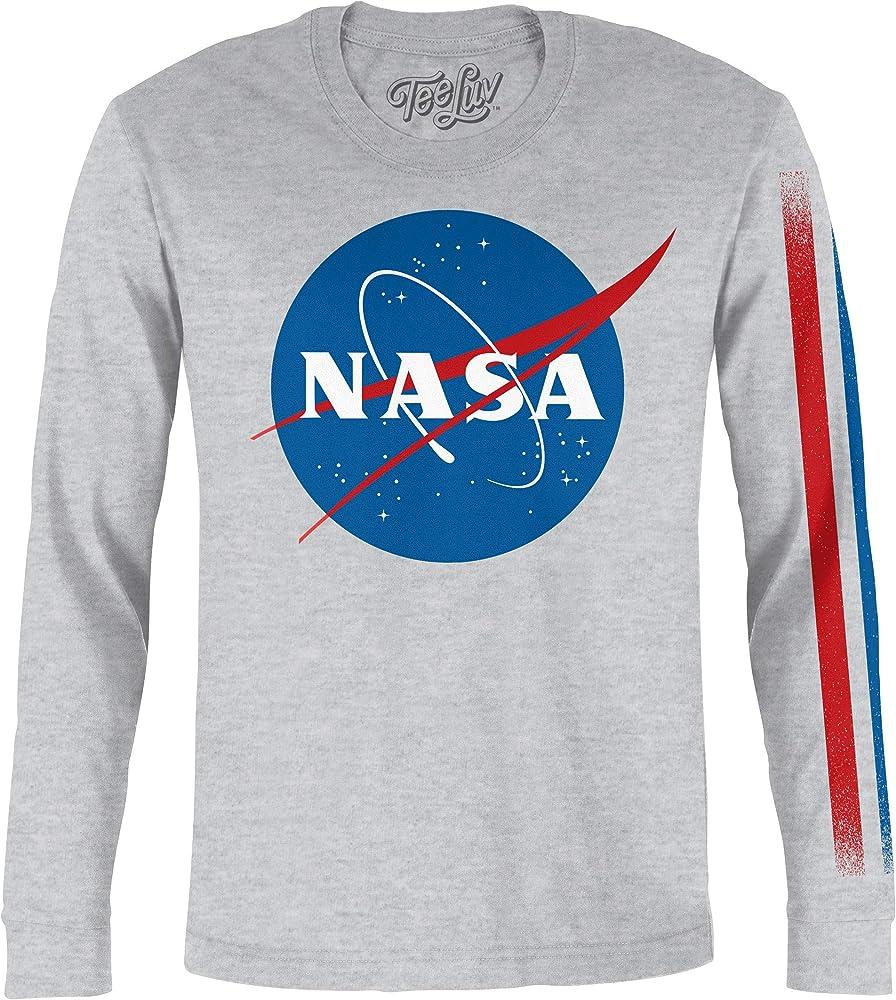 Tee Luv de los hombres Camisa de manga larga nasa - Retro albóndiga de la NASA la camiseta del logotipo XX-Large Cuero gris: Amazon.es: Ropa y accesorios