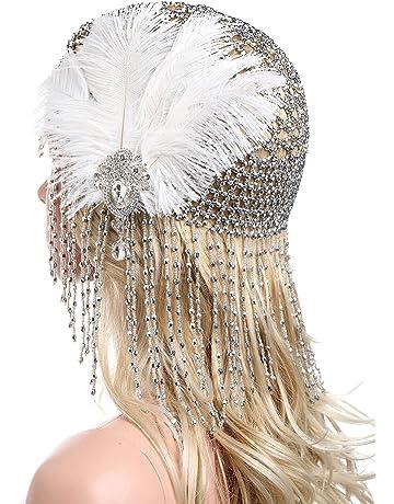 Testa Gioielli Charleston fascia per capelli con molla 20er anni Nero Od Argento Colorate