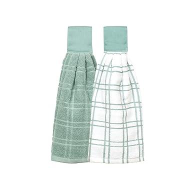 Ritz Kitchen Wears 100% Cotton Checked & Solid Hanging Tie Towels 2 Pack, Dew 2 Piece