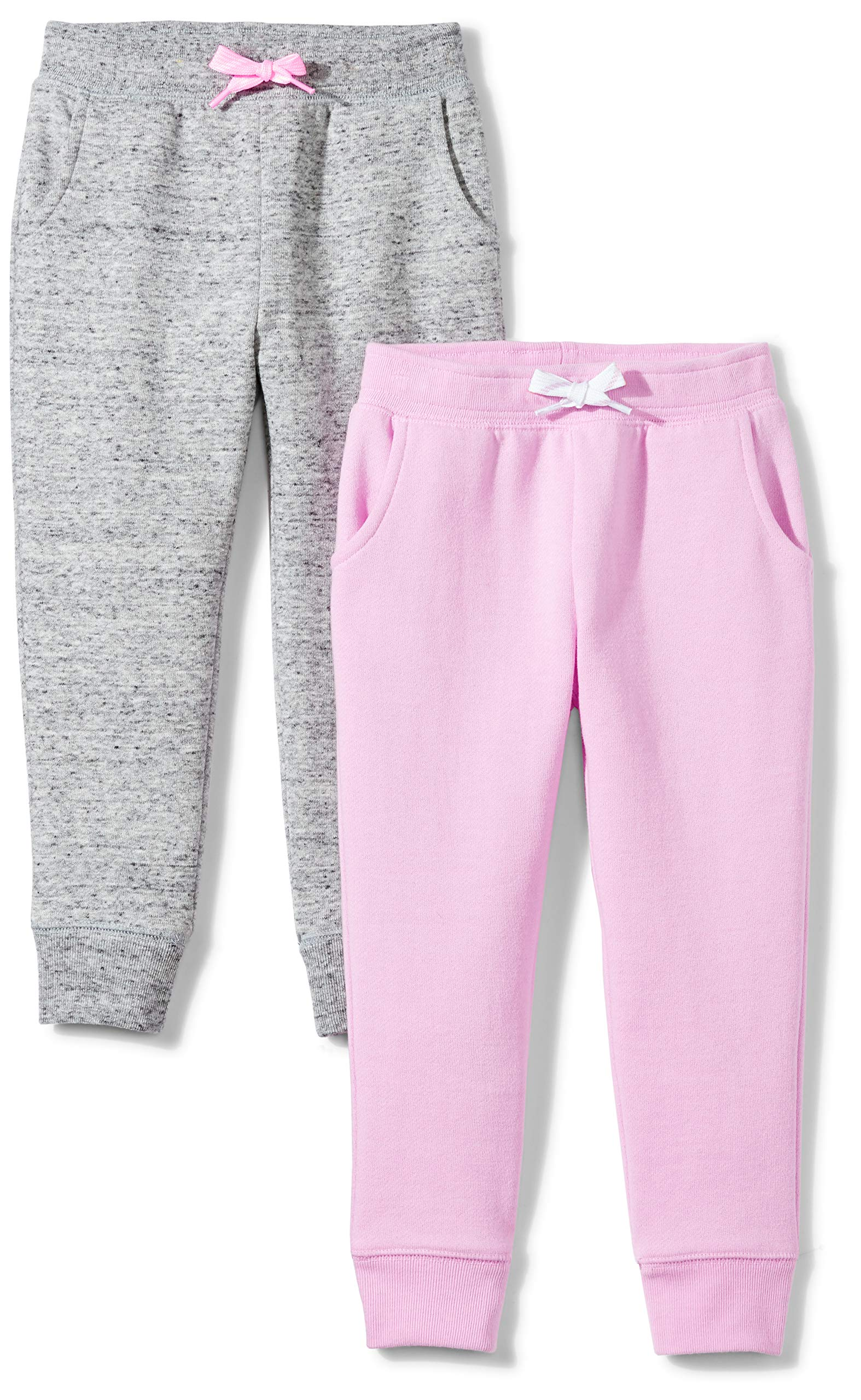 Spotted Zebra Girls' Big 2-Pack Fleece Jogger Pants, Grey/Pink, Medium (8)