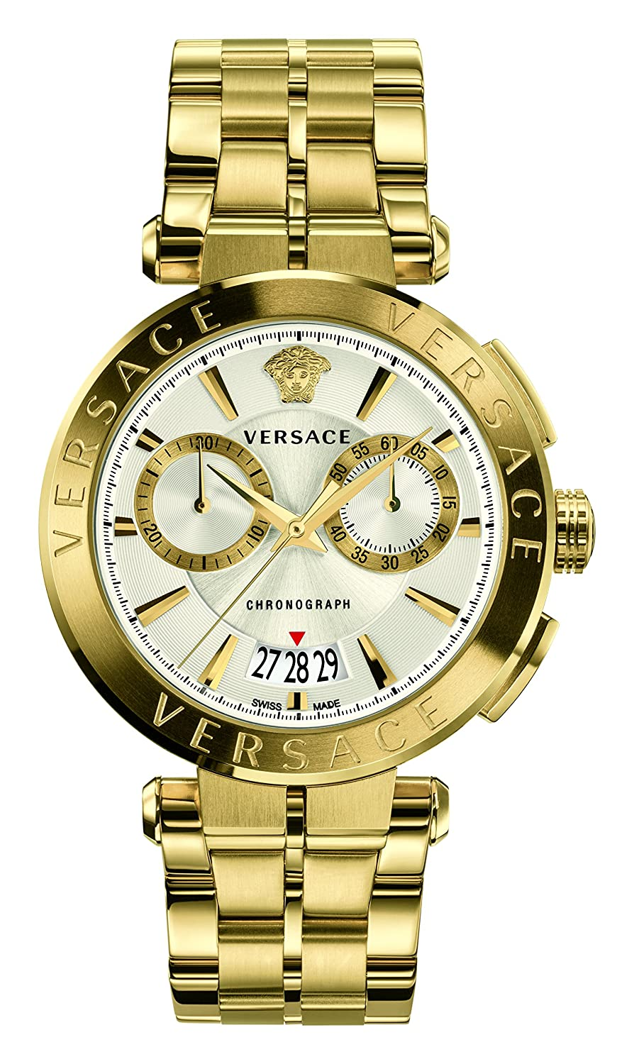 CDM product Versace Men's Luxury Aion Chronograph Silver Dial Gold Tone Stainless Steel Watch (Model: VBR060017) big image