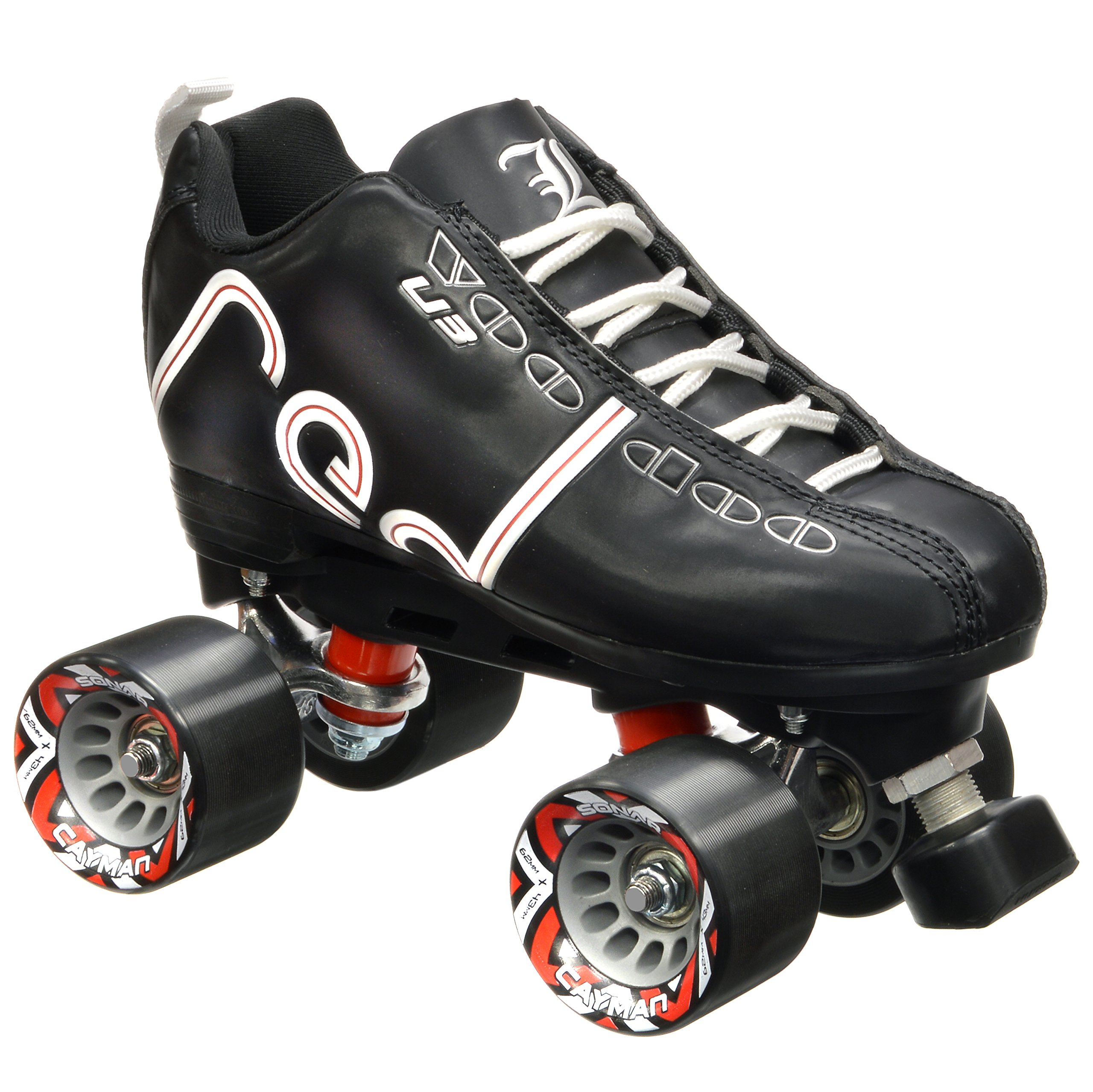 New! Labeda Voodoo U3 Quad Roller Speed Skates Customized Black w/ Black Cayman Wheels! (Mens 5 / Ladies 6)