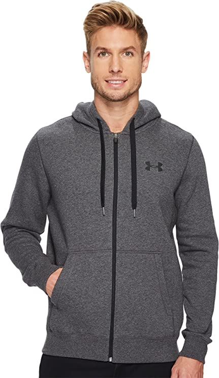 New Under Armour Rival Fitted Hoodie Carbon Heather/Black For Men Sale