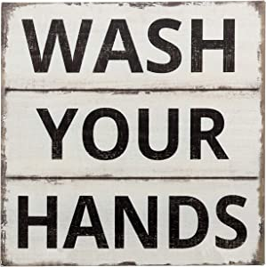"""Barnyard Designs Wash Your Hands Sign Primitive Country Farmhouse Bathroom Quotes Home Decor Sign 11"""" x 11"""""""