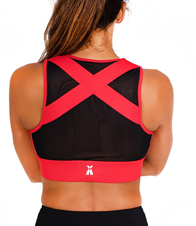 Xirvana Electra Posture & Back Support Sports Workout Daily Use Front Zip Bra (Black/Red, Medium)