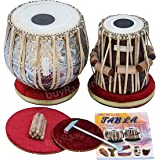 MAHARAJA Concert Tabla Drum Set, 4½ Kg Copper Bayan, Designer, Finest Dayan with Padded Bag, Book, Hammer, Cushions & Cover -
