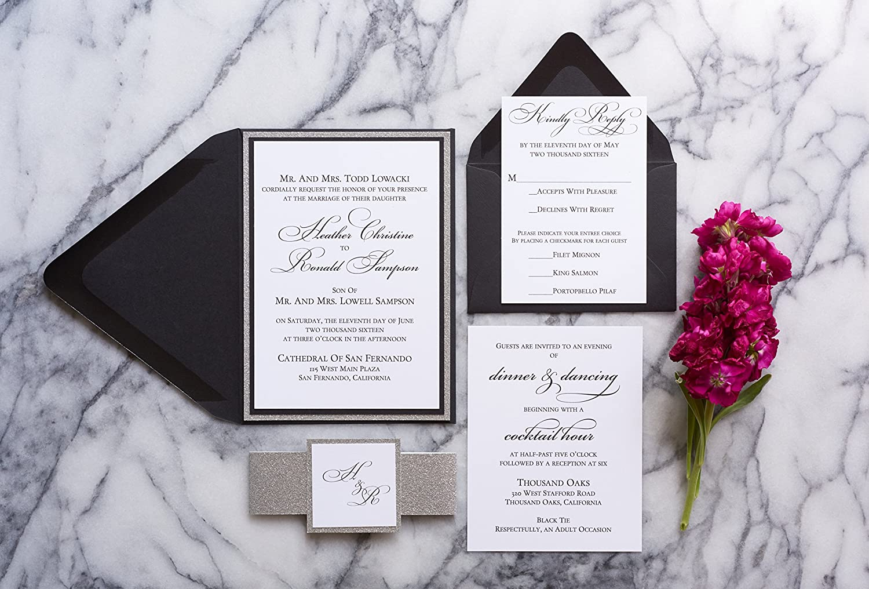 Amazon.com: Personalized Glitter Wedding Invitation, Elegant Wedding ...