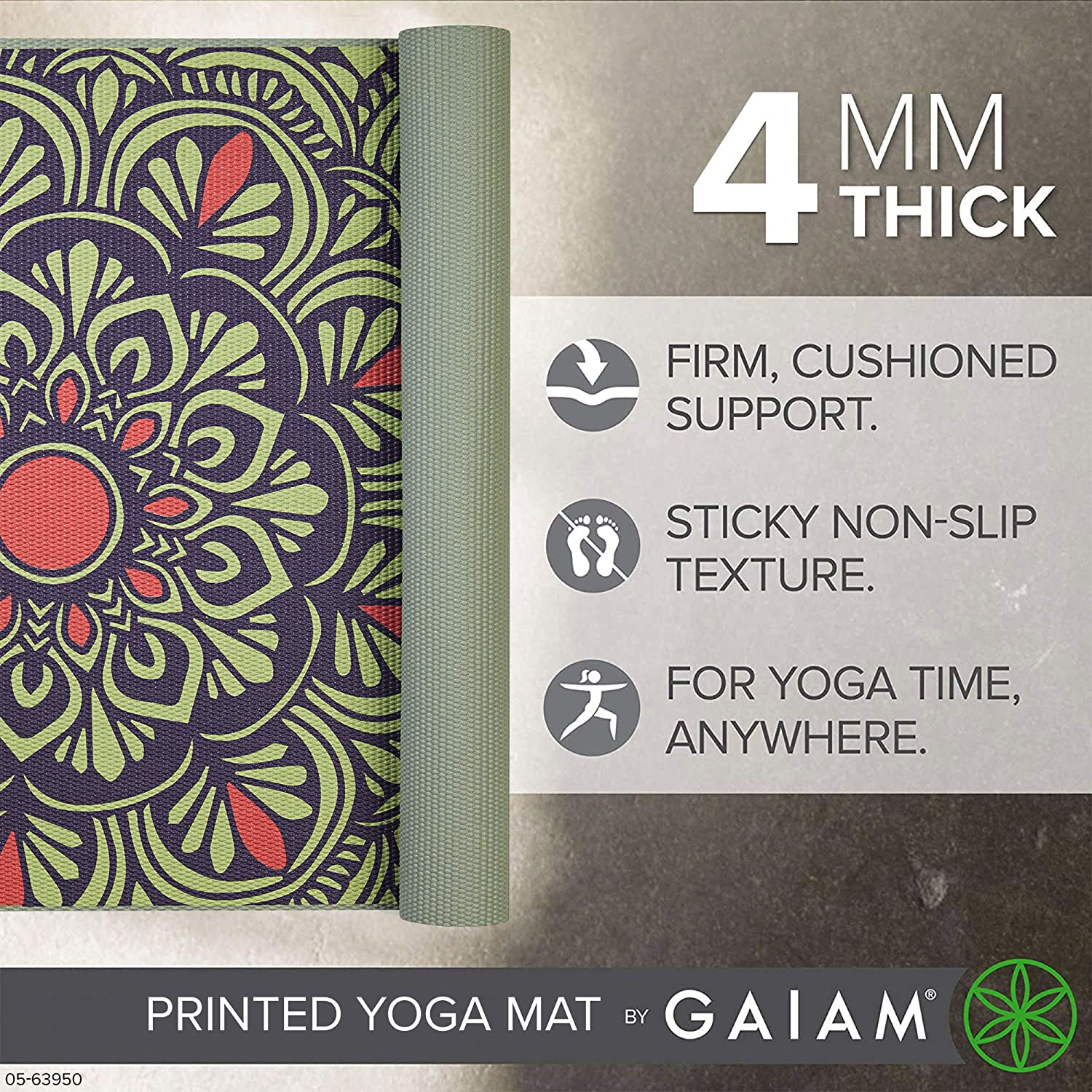 Gaiam Yoga Mat 68 x 24 x 4mm Classic 4mm Print Thick Non Slip Exercise /& Fitness Mat for All Types of Yoga Pilates /& Floor Workouts