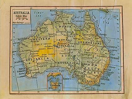 Australia Map Poster.Amazon Com 018 Australia 1906 Vintage Historic Antique Map Poster