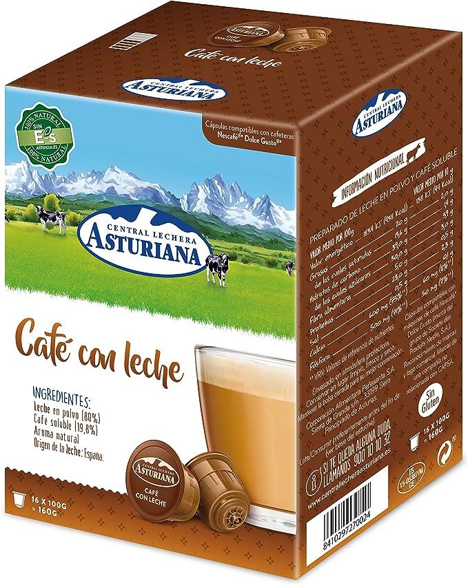 Central Lechera Asturiana Cápsulas de Café con Leche - 4 Paquetes de 16 Cápsulas - Total: 64 Cápsulas: Amazon.es: Alimentación y bebidas