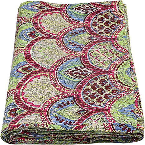 Floral fruit kantha quilt Indian cotton handmade hippie boho bohemian bedding vintage bedspread blanket queen size bed cover
