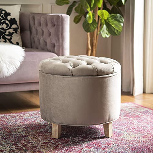 Safavieh Hudson Collection Amelia Mushroom Taupe and Pickled Oak Storage Ottoman