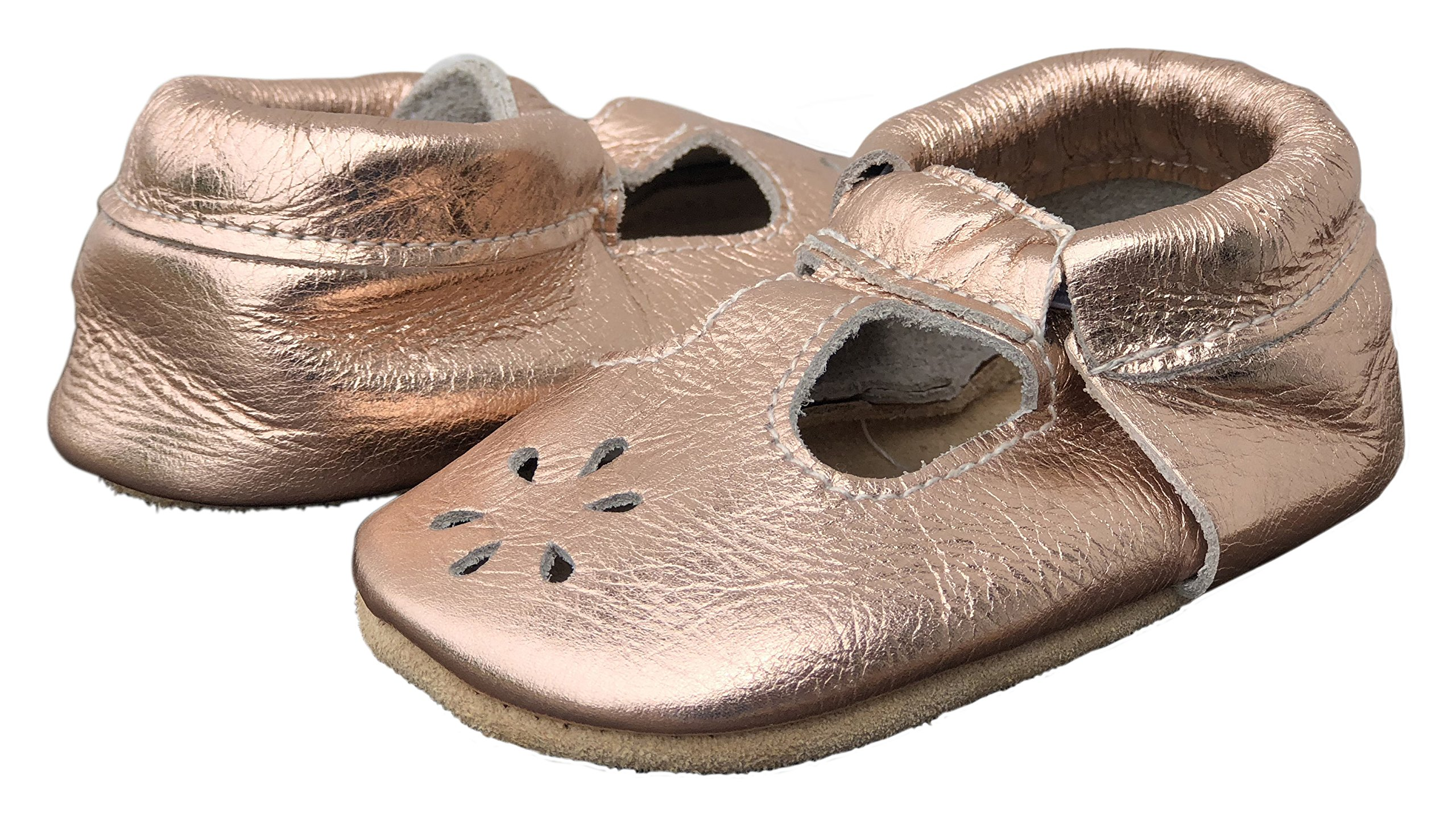 Lucky Love Baby & Toddler Soft Sole Prewalker Skid Resistant Boys & Girls Shoes (6-12 Months, T-Strap Rose Gold)