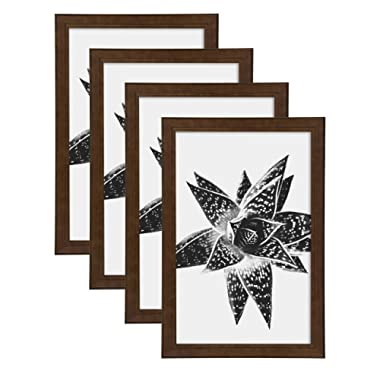 DesignOvation Kieva Solid Wood Picture Frames, Espresso Brown 11x17, Pack of 4