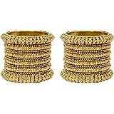 Mansiyaorange Traditional Fancy Designer Casual Party Wedding Wear Original Hand Work One Gram Gold AD Stone Two Bangle Set for Women Stylish (Premium Range)