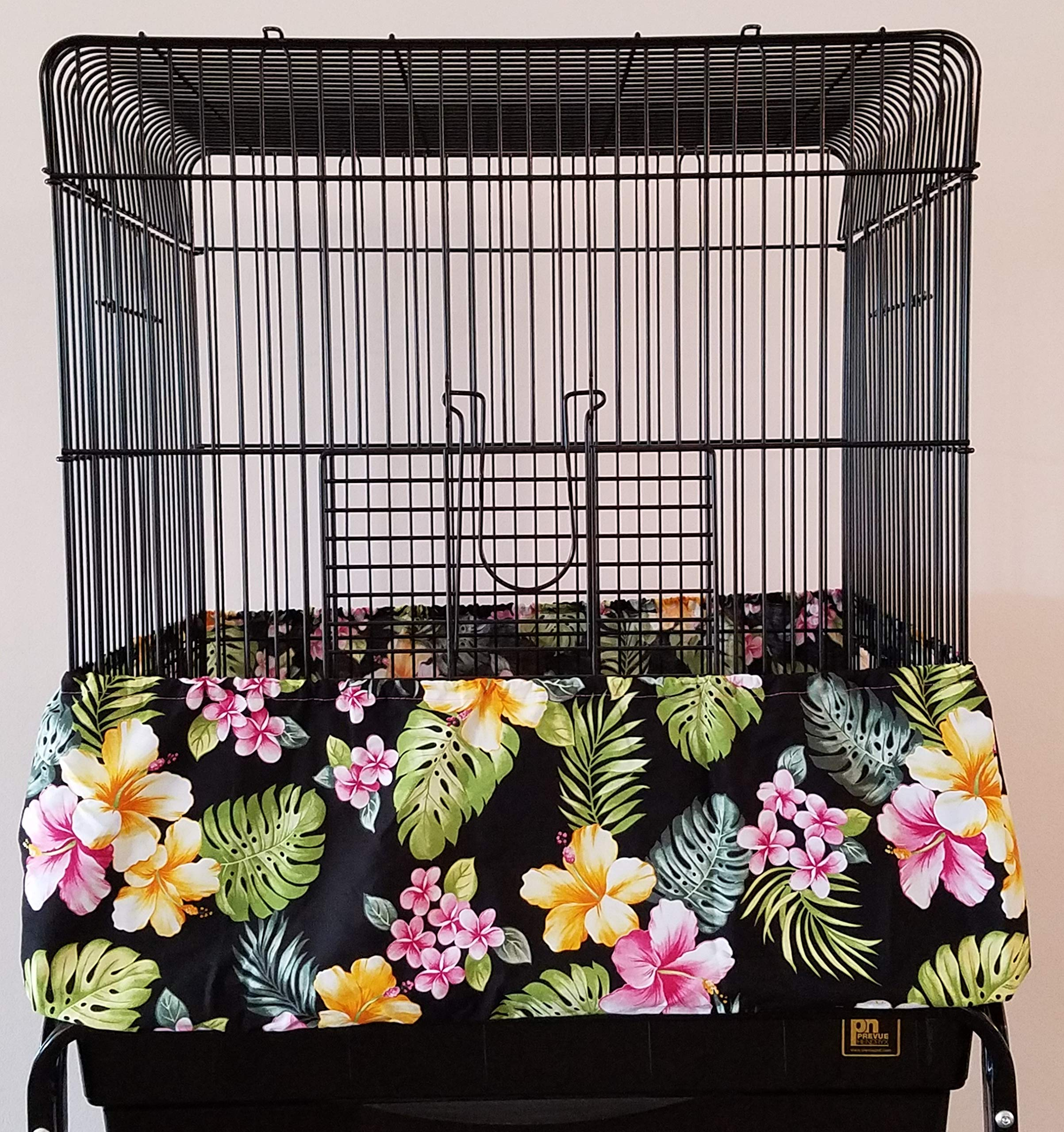 Penn Seed Seed Guard and Catcher Bird Cage Skirt - Hawaiian Hibiscus/Plumeria (Extra Large (56''-112'' Cage Circumference)) by Penn Seed
