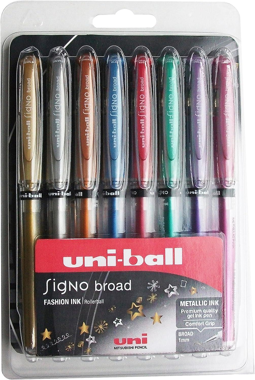 Metallic-Tintenroller gold mit uni Super-Tinte 3er-Packung uni-ball UM-153 Signo Broad 1/mm breite Spitze silber und wei/ß
